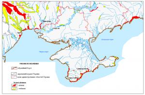 Карта абразійних берегів у межах України